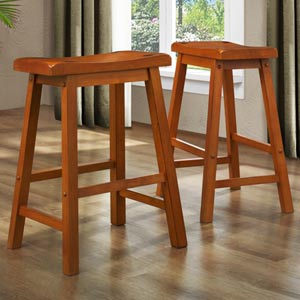 24-Inch Oak Stool, Set of Two